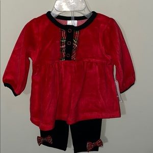 Nursery Rhyme 2 piece set red and black size 0/3M